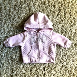 3/$15 Baby Gap quilted front soft pink zip up hoodie